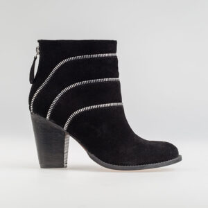 Triple Zip Leather Heeled Ankle Boot