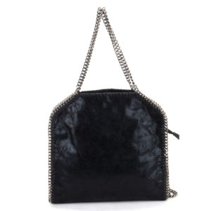 METAL CHAIN FAUX LEATHER HANDBAG