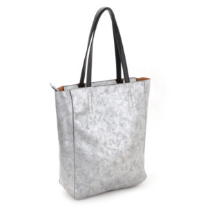 Faux Leather Silver Metallic Shopper
