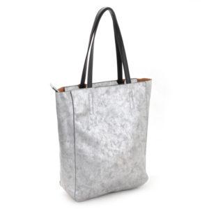 Faux Leather Silver Metallic Shopper